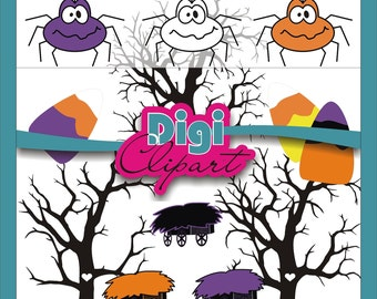 Halloween Spider Candy Corn Tree Clipart INSTANT DOWNLOAD