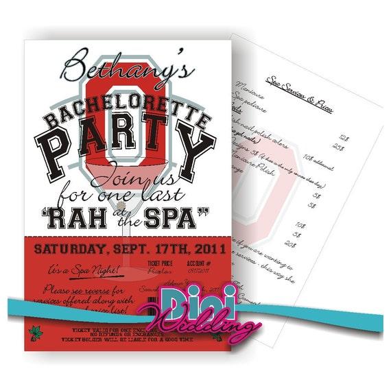 Custom Theme Bachelorette Party Bridal Shower Invitation - NCAA or Any Team - Printable Digital