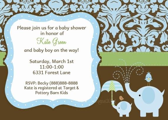 Baby Boy Shower Invitation-Damask Elephant