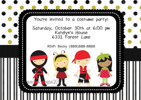 Halloween Invitation - Costume Party - Kids Halloween Party - Halloween Birthday Party - Digital File