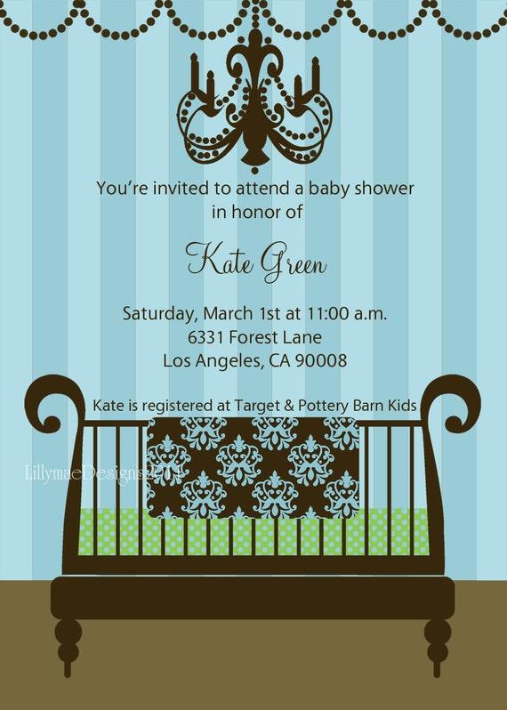 Baby Boy Shower Invitation - Baby Boy's New Crib - Digital File