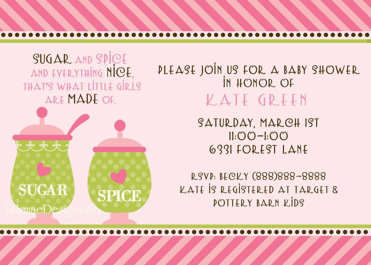 sugar and spice baby shower or party invitation by lillymaedesigns