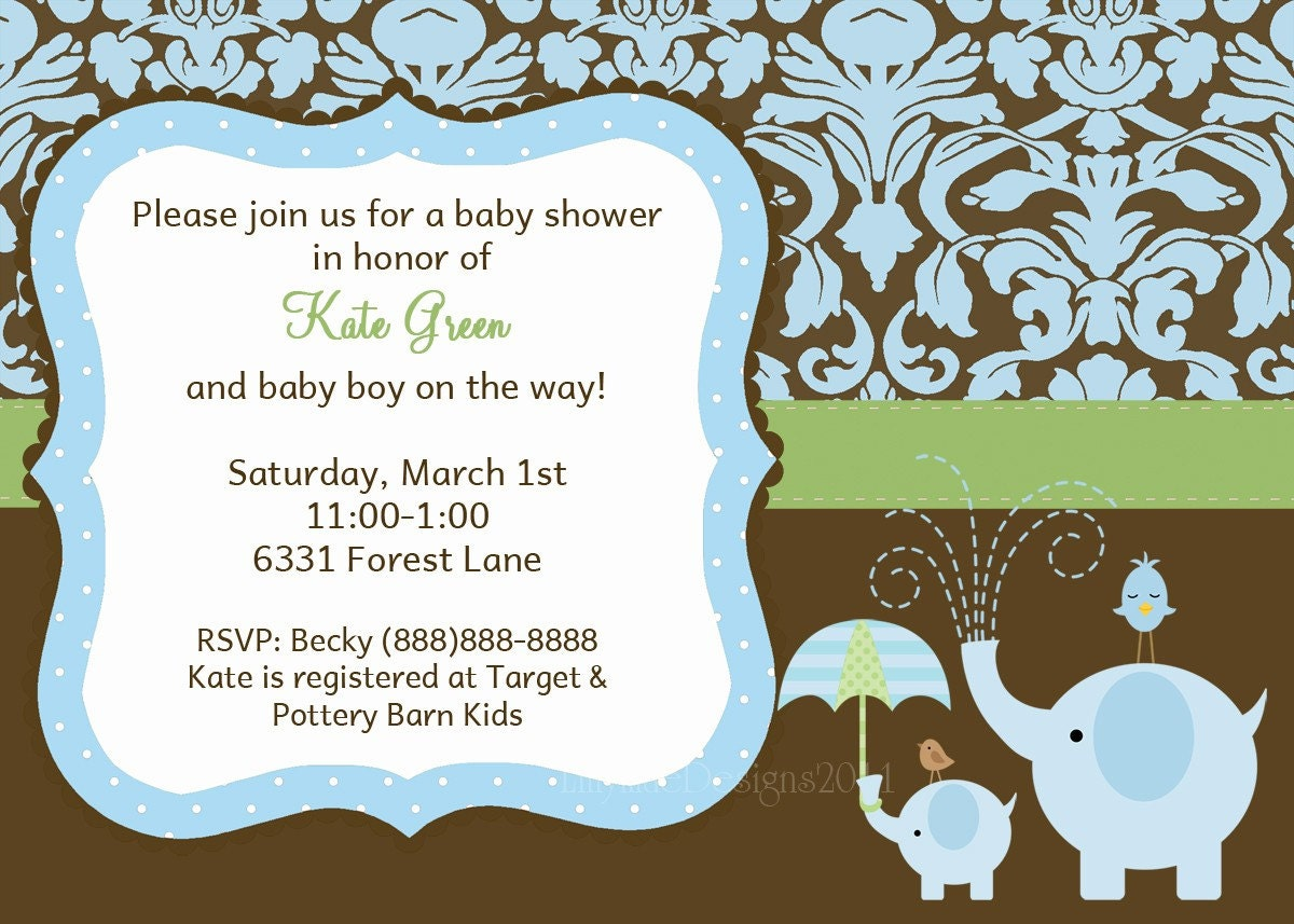 Baby Boy Shower Invitation Elephant Baby Shower Invitation