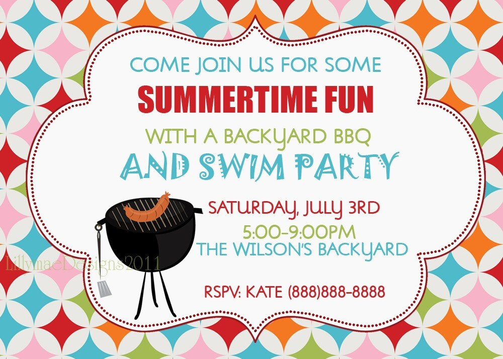 Barbecue Invitation Backyard Bbq Summer Party by LillyMaeDesigns