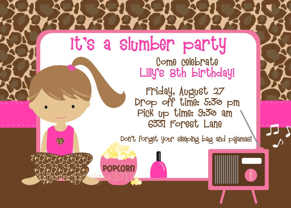 Slumber Party Invitation Pajama Party Sleepover Party