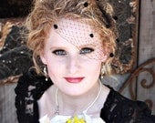 9 inch Birdcage Veil with Chenille Dots- Black or Red