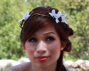 White Butterfly Crown with Faux Curly Willow- Artemis