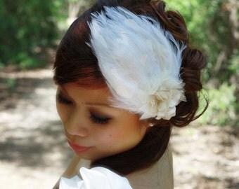 Ivory Hydrangea Feathers Fascinator-Scarlett