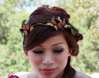 Monarch Butterfly Crown with Faux Curly Willow -Willow