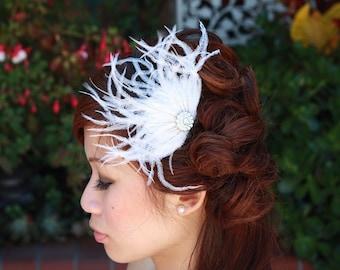 Ostrich  Feather Fan Comb-Grace