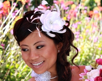 Heaven-White Satin and Organza Flower Fascinator