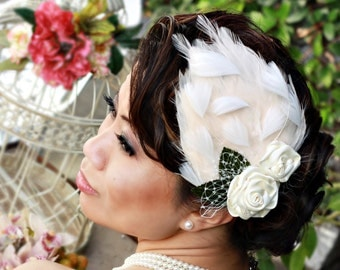 Satin Rosettes with Feathers Fascinator- Couture Abbey