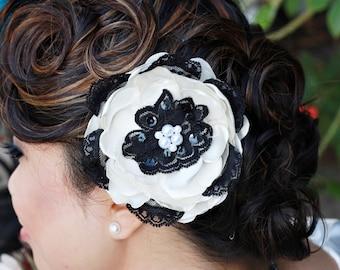 Sale -Ivory & Black Lace Flower Fascinator -Coco