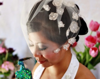 Hydrangea Blossoms Kissing Bridal Illusion Tulle Veil (Sheer) - 14 inch