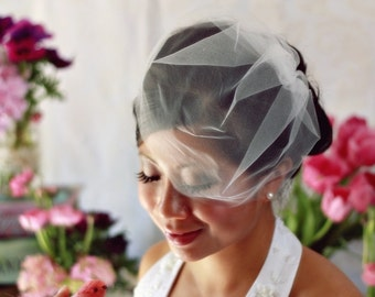 Illusion Tulle Blusher Birdcage Veil (11 inch)