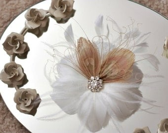 Feather Flower with Bleached Peacock Feathers-Jillian