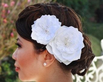 White Double Blooms Fasincator Set- Kendall