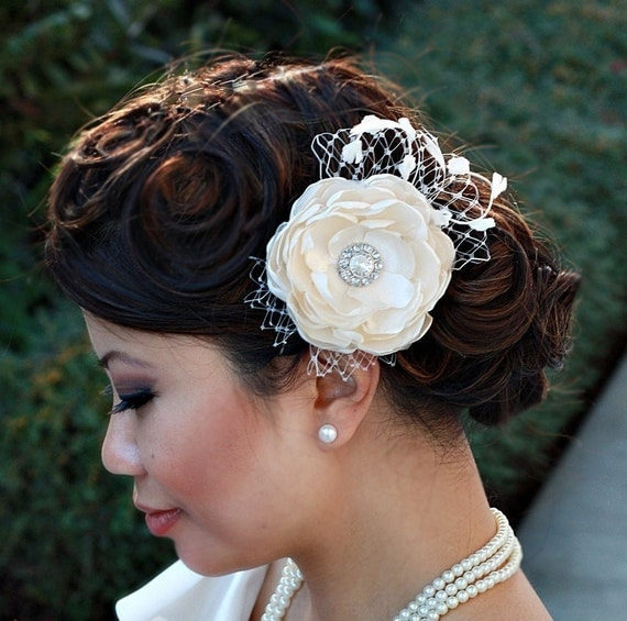 Flower Fascinator with Veiling & Vintage Accents-Penelope