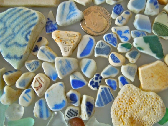 SEA POTTERY and Sea Glass of HAWAII'S  beaches   surf tumbled for jewelry