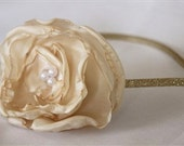 RESERVED for Patrice - Vintage Flower Headband - Cream/Gold