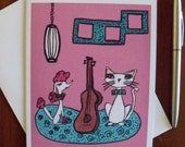 The Music Lesson Art Print 5 x 7 Greeting Card