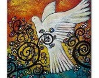 Peace Flew In Dove Ceramic Tile Drink Coaster
