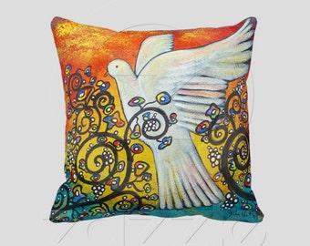 Peace Flew In Original Art Dove Pillow