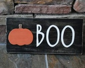 BOO halloween sign with pumpkin custom many colors available ready to ship