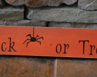 Trick or Treat sign with spider cute halloween decor black and orange, ready to ship