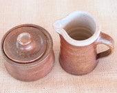 Wood Fired Shino Glazed Sugar Bowl and Creamer Set