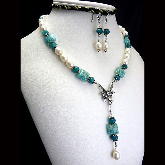 Sterling Silver Fairy Necklace Aqua Lampwork and White Freshwater Pearls