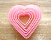 Fun Cookie Cutters - Set of 6 HEARTS in the Plastic Case