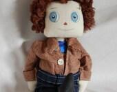 ON Sale Super Dad, Primitive Folk Art Rag Doll Fathers day ooak heroe Papa SALE
