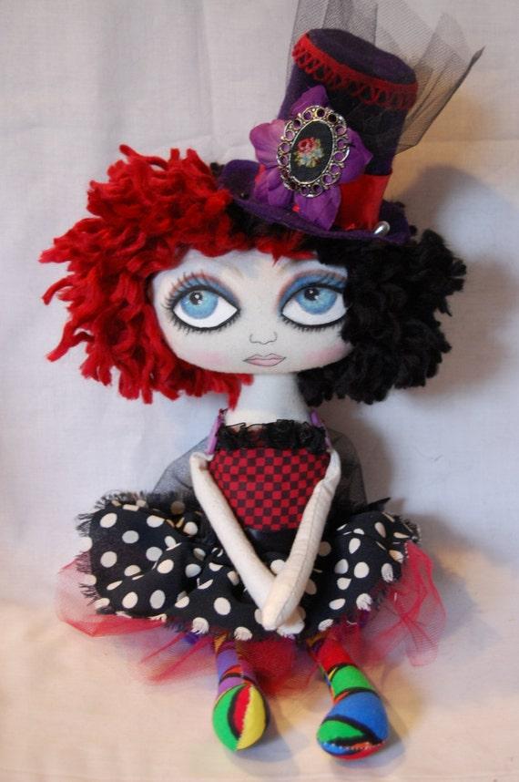 SALE Gigi, Circus Clown Cloth Art Raggedy Doll SALE