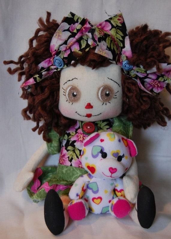 Lulu Annie, Primitive Folk Art Raggedy Doll and Teddy