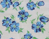 Blue Flowers with Green Stem and Leaves Feedsack Fabric