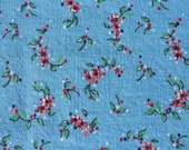 Vintage Pale Blue Cotton Fabric with Tiny Flowers