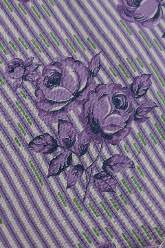 Purple Roses on Stiped Feedsack M
