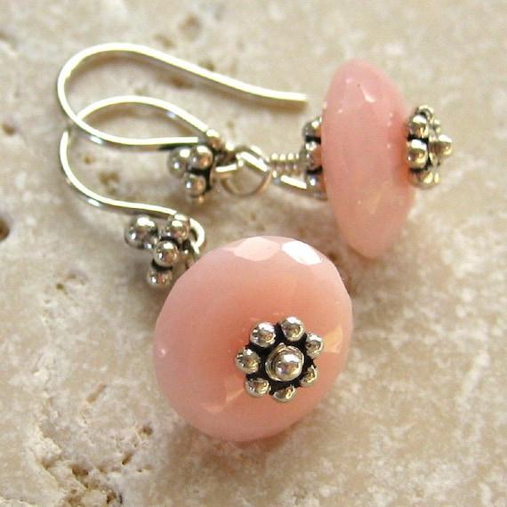 Pink Opal Earrings Sterling Silver