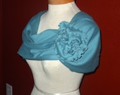 Peacock Blue Shoulder Wrap with ROSE