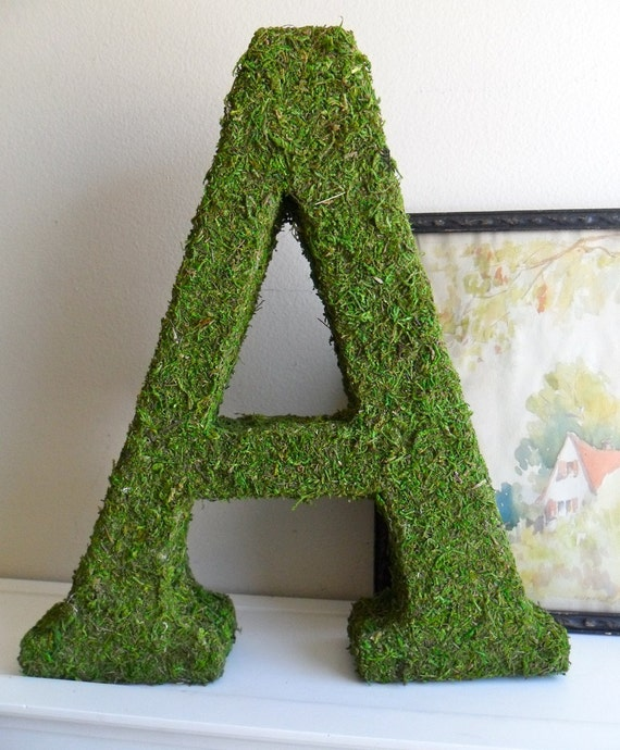 Moss Covered Letter  12inch with Ribbon Hanger