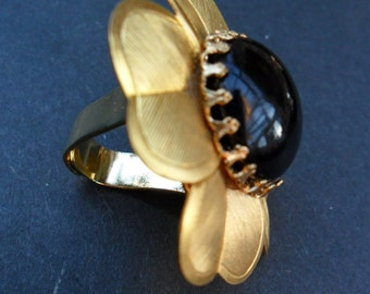 Vintage Gold and Black Flower Earring Made into Fabulous New Ring
