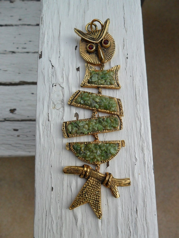 Funky Gold Retro Owl Pendant with Jade Body and Crazy Eyes sale