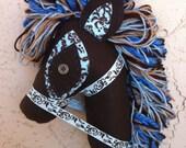 Damask blue hobby horse stick pony OOAK handmade