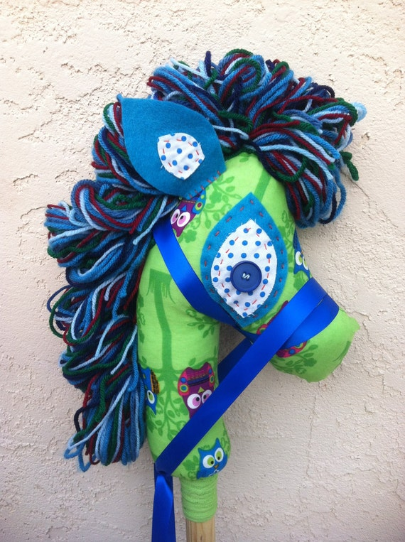 Upcycled Stick Horse or Hobby Horse Pony green blue upcycled recycled