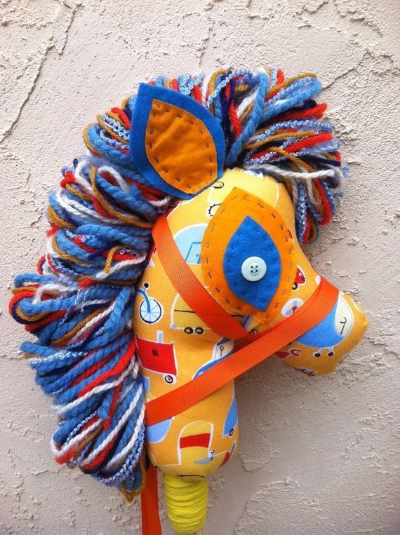 Zoom-zoom hobby horse, stick pony, puppet, upcycled, recycled, Manely Recycled by audioamy