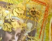Original Textile Art Quilt. Whimsical Wall Art. Golden Summer