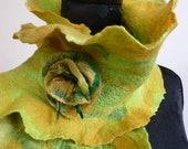 Green and Gold Felted Scarf. Ruffled Wool Neck Warmer With Matching Felted Brooch. 50% Discount