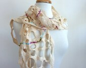 White Wool Scarf. Felted Web Scarf. White Web with a Hint of Sparkle