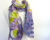 Purple Floral Scarf. Wool and Chiffon Scarf. Womens Spring Fashion Scarf. Wisteria